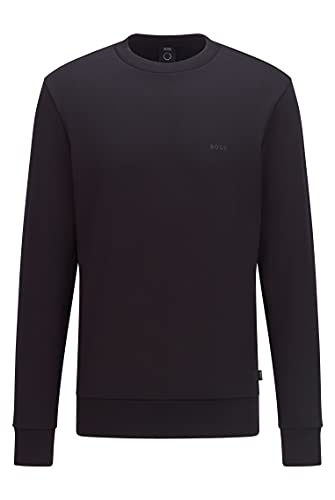 BOSS Sudadera de hombre Stadler 79 de algodón orgánico con textura de terry francés y logotipo, Negro , XXXL