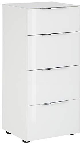 lisel-de Schubladenkommode Maja Möbel in Weiß matt/Weißglas - Oberplatte Glas Kommode Trend 7806 mit 4 Schubladen - 45x99x40cm