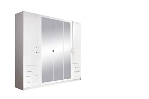 Rauch Möbel Neustadt-Extra Schrank Drehtürenschrank in Weiß mit Spiegel & 4 Schubladen 5-türig, inkl. Zubehörpaket Basic 3 Kleiderstangen, 3 Einlegeböden BxHxT 226x210x54 cm