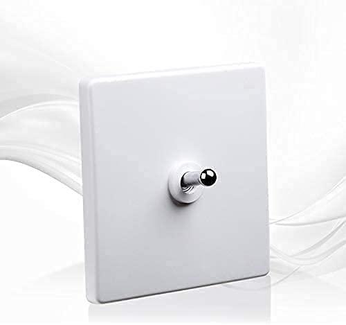 PJDOOJAE 86 Tipo Interruptor de mejoras para el hogar Blanco Palanca de módulos de muebles Retro Mejoras para el hogar 1-4 Gang Way Silver Palanca 86 Tipo TGAGLE Luz de pared de pared de acero inoxida