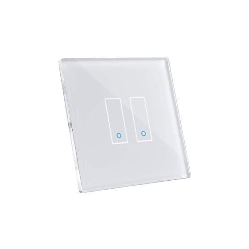 Iotty E2 Interruttore Intelligente wifi Smart per luci e cancelli, 2 tasti, compatibile con Google, Alexa, Siri e IFTTT, Controllo Remoto da App IOS e Android, placca touch in vetro retroilluminato.
