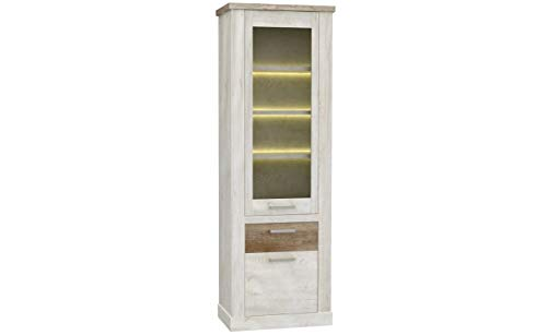 Furniture24 Vitrine Duro DURV812 Standvitrine, Wohnzimmerschrank, Vitrinenschrank mit 2 Türen und Schublade (Mit Beleuchtung)
