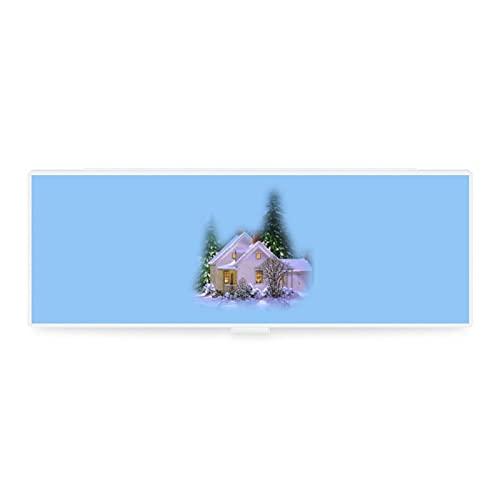 Niedliches kleines & großes transparentes Federmäppchen, Zubehörtasche, Kunst-Design, die Landschaft Schnee, Holzhaus, Wintermalerei-Werkzeug, Sammelbox für Büro, Woker Herren Damen Unisex
