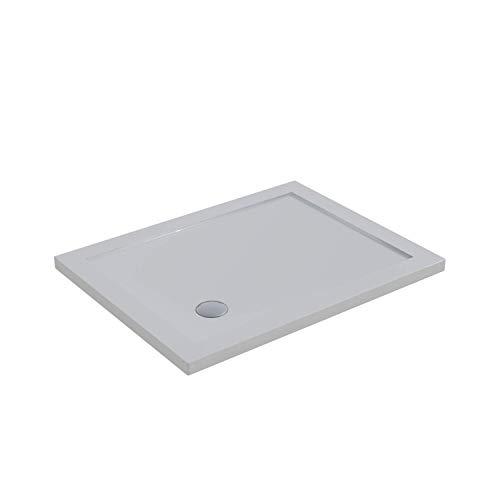 Duschwanne, 70 x 100 cm, Acryl, weiß, glänzend, Höhe 4 cm, inklusive Ablaufgarnitur