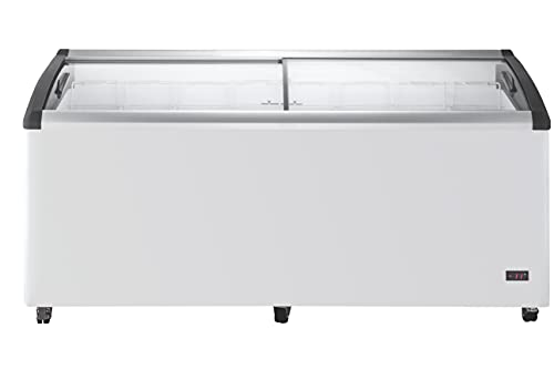 DUURA DDFC21 Commercial Mobile Ice Cream Display Chest Freezer Sub Zero Temp Curved Glass Top Frost Free Lid with 8 Wire Baskets, 71.7 Inch Wide 21.2 Cubic Feet, White