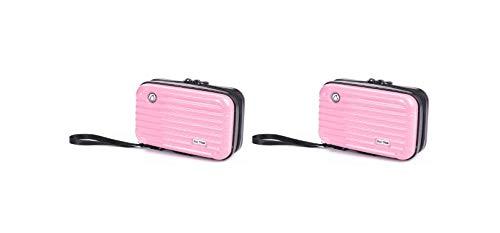 ビッグツリー お得な【セット販売】ペア 2セット 1way 多機能ポーチ ミニ スーツケース型 コンパクト ハード ケース (ピンク×2)