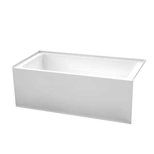Grayley 60 x 30 Inch Alcove Bathtub in White with Right-Hand Drain and Overflow Trim in Polished Chrome