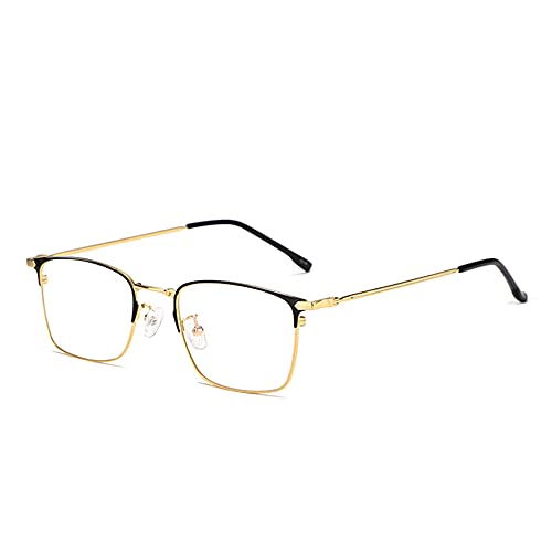 CAOXN Gafas De Lectura Multifocales Progresivas para Hombres Lentes De Resina De Alta Definición Anti-Luz Azul Presbicia Hipermetropía Gafas Ópticas,Oro,+2.50
