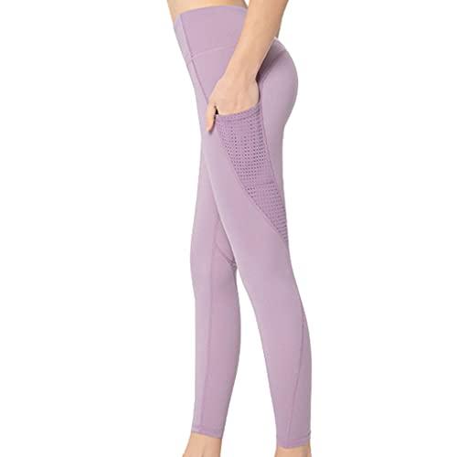 ZZAL los Pantalones Yoga Leggings Abdominales Bolsillos Ajustados Ejercicio Estiramiento Entrenamiento Fitness Pantalones Sin Costuras(Size:s,Color:púrpura)