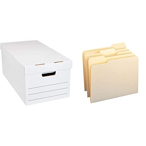 Amazon Basics Medium Duty Storage Filing Box with Lid - Pack of 12, Letter / Legal Size & 1/3-Cut Tab, Assorted Positions File Folders, Letter Size, Manila - Pack of 100