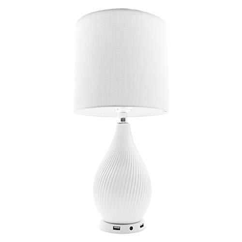 Macally LAMPUSBCMAW-U - Lampada da tavolo dimmerabile con 2 porte USB (24 Watt di potenza di ricarica), 240 V