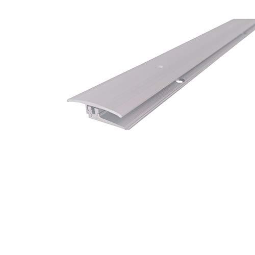 ufitec Profilsystem für Parkett- und Laminatböden - für Belagshöhen von 7-15 mm - viele Farben lieferbar (Flex Übergang 90 cm Lang | 35 mm breit, Silber)