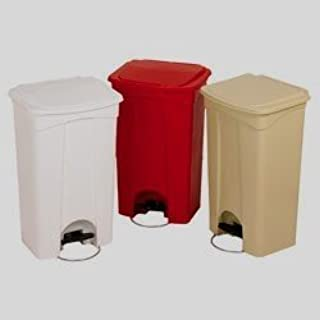 Continental Plastic Step-On Trash Can Receptacle with Lid - 18 Gallon, Beige