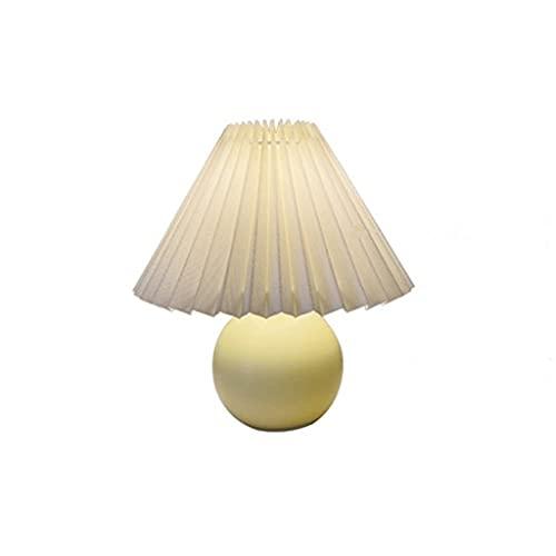 DAI QI Lámparas de Mesa de cerámica Simple Lámpara de Cama de Noche Lámpara Ambiental Falda Plisada Pantalla Pantalla de Lámparas Art Deco Lightstand Lighting (Lampshade Color : Blue and White)