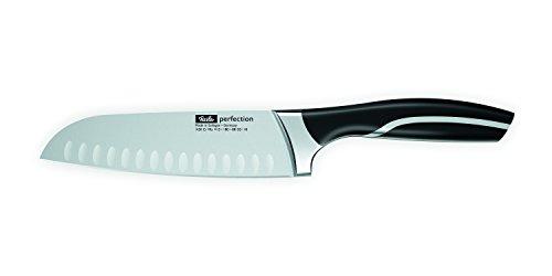 Fissler perfection / Santoku-Messer (Ø 18 cm) Kochmesser, Japanisches-Küchenmesser, extrem scharf, mit Kullen, rutschfeste Kunststoffgriffe