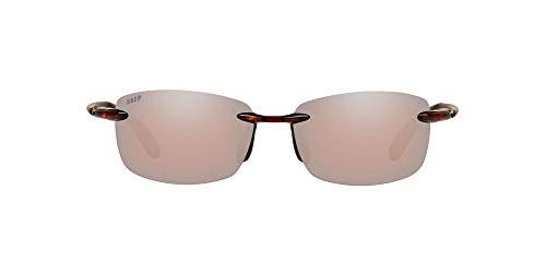 Costa Del Mar Men's Ballast Polarized Rectangular Sunglasses, Tortoise/Copper Silver Mirrored Polarized-580P, 60 mm + 0
