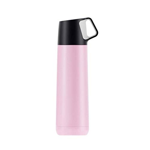 CCBCZ Fashion Hit Color Insulation Cup, Small Fresh Stainless Steel Vacuum with Cup Lid Bullet Cup 350ml (Color : Pink)