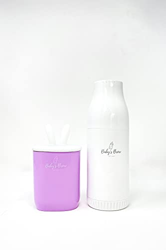 Baby's Brew Portable Bottle Warmer Pro - Milk Warmers for Breastmilk or Formula, Leak-Proof Design, Travel-Friendly, Cordless, Battery-Powered, 8-12 Hour Battery Life, Warmer Set Lilac