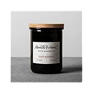 Hearth and Hand Magnolia Lidded Jar Container Soy Candle 8oz Farmhouse Joanna Gaines Collection (Cedar Magnolia)