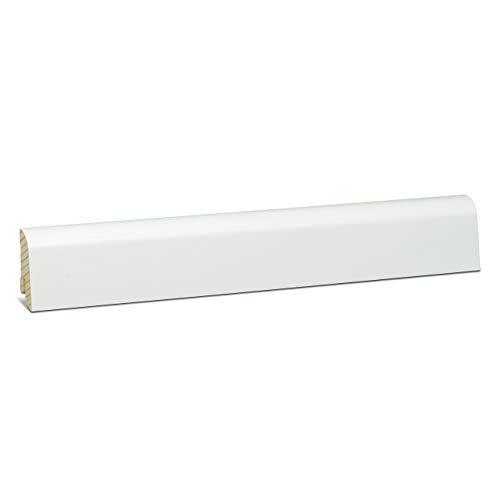 KGM Sockelleiste weiß Schlossberger Profil | Clip Leiste 20x45mm weiß | Echtholz Fussleiste ummantelt mit Qualitätsfolie | Bodenleiste zur unsichtbaren Montage mit KGM ExPress Clip | Länge 2.5m