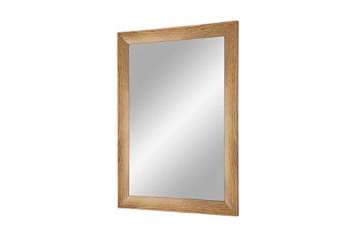 Duisburger-Rahmen24 Flex 35 - Specchio da Parete 70x160 cm con Cornice (Quercia Rustico), Specchio su Misura con Striscia di Legno MDF da 35 mm di Larghezza e Parete Posteriore Robusta con Ganci