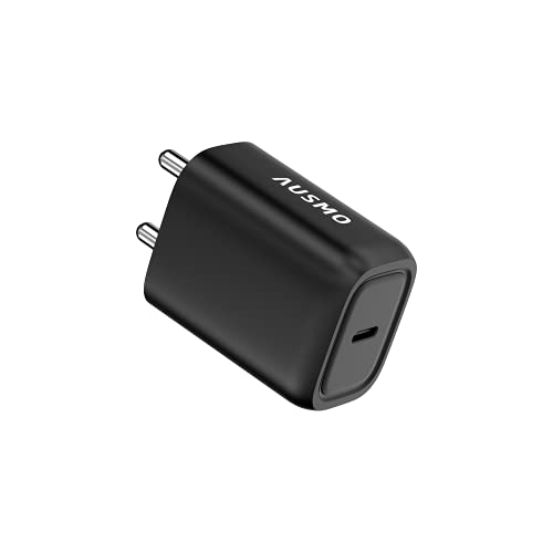 Ausmo 20W Wall Charger Xtra Charge PD USB C Plug, Single Port Power Adapter for Apple iPhone, iPad, Samsung and More (Desert Black)