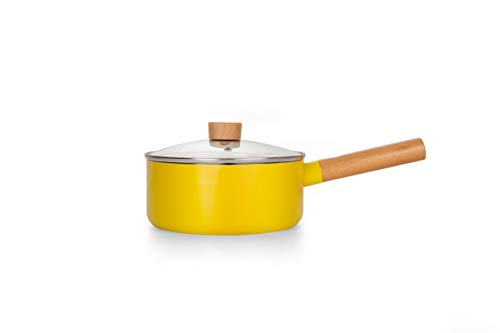 swiflon Nonstick Aluminum Saucepan Pot with Lid Pour Spout Desigh Multipurpose Use for Home Kitchen, 2-Qt Yellow
