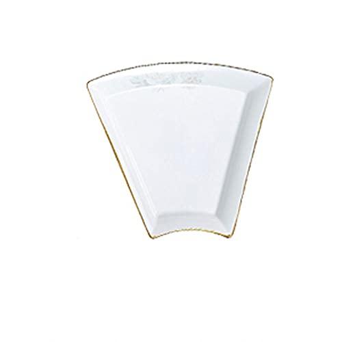 Caijiecaip Platos Llanos La Placa de cerámica en Forma de Ventilador Adecuada para Las cocinas de restaurantes y Las reuniones Familiares se Pueden Utilizar para lavavajillas de microondas
