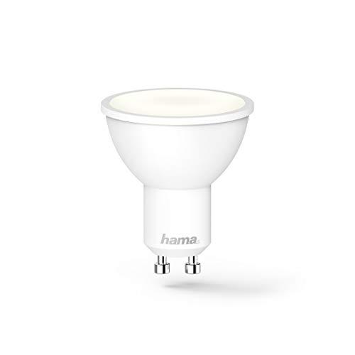 Hama GU10 Wi-Fi LED-Lampe, 4,5W (ohne Hub, dimmbar, gesteuert via Alexa/Google Home/App, 2,4GHz, warm-/neutral-/tageslichtweiß) WLAN Lampe, Echo/Echo Dot/Echo Spot/Echo Plus/Echo Show kompatibel