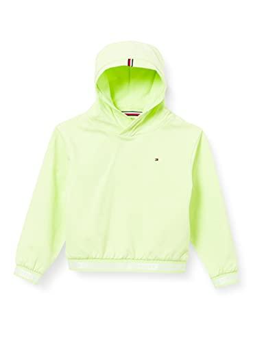Tommy Hilfiger Mädchen Logo Rib Hoodie Pullover, Grün (Faded Lime), 10 Jahre