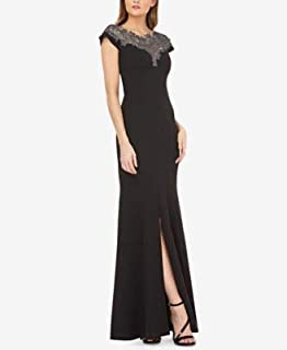 JS COLLECTION Womens Black Slitted Lace-neck Stretch Crepe Gown Cap Sleeve Jewel Neck Maxi Evening Dress US Size: 12