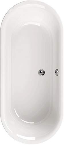 Calmwaters® Freistehende Badewanne 180x80 cm, Acrylwanne Honest, Duo-Badewanne für zwei Personen, Maße 180 x 80 cm, freistehende Wanne oval, runde Badewanne freistehend, Duowanne in Weiß, 02SL2975