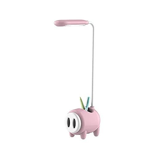 Lámpara de escritorio LED de 360 grados, contenedor de pluma de carga USB giratoria, lámpara de escritorio para estudiantes, protección ocular, lámpara de escritorio con control táctil Led pink