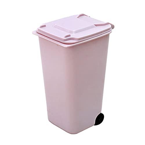 FIJTPSAN Decoración para el hogar de la Basura Mini Basura de plástico Puede DE Almacenamiento DE Almacenamiento BUIN Organizador DE Espacial (Color : Pink)