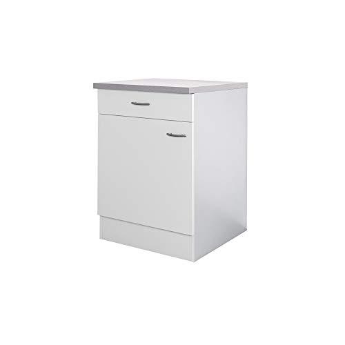 Flex-Well Küchenschrank UNNA | Unterschrank | 1-türig, 1 Schublade | Breite 60 cm | Weiß