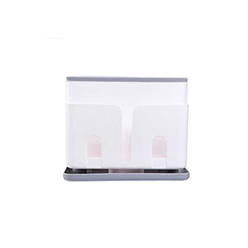 YCHSG Küchenregale Multifunktions Küchenmesserhalter Kunststoffregale Abfluss Abfluss Eimer Geschirr Lagerung,White