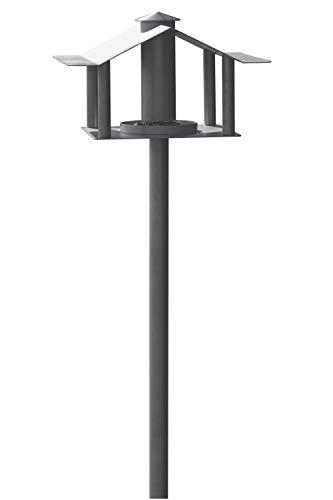Steelbutze | Exklusives Vogelhaus mit Ständer aus Edelstahl - Futterhaus für Vögel, Vogelhäuschen mit Silo | leichter Aufbau, stehend | für den Garten, Balkon und Terrasse