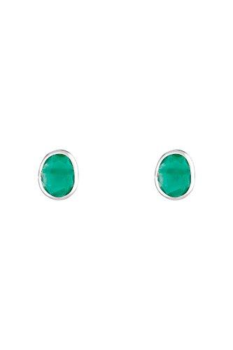 Córdoba Jewels | Pendientes en plata de ley 925 con piedra semipreciosa. Diseño Oval Esmeralda