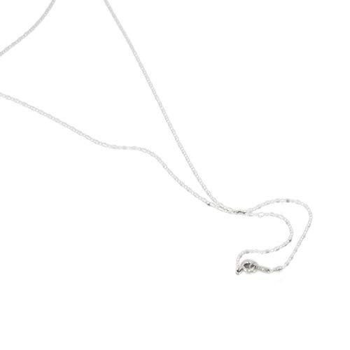[ルビイ] ホワイトゴールド K18 カット変形ボールBR チェーン ネックレス 幅1.0mm 長さ60cm