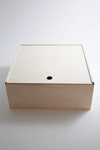 Pie Box Wooden Box Pie Style Sliding Lid Housewarming Gift Pie Cake Carrier. 13'x 13'x 6'. All Maple and Unfinished.