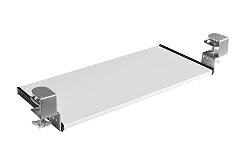 FIX&EASY Guías abrazable con bandeja 600X400mm tono blanco, abrazaderas altura ajustable gris plata, corredera extraible negro 400mm con freno, set cajón con rieles para teclado ratón laptop