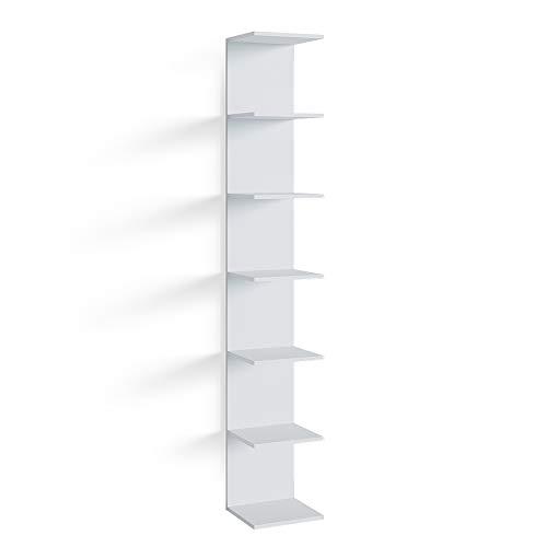 Vicco Wandregal Standregal Bücherregal Paolo Schminktisch Hängeregal 7 Ebenen (Weiß, Einzelregal)