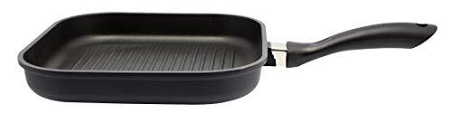 ELO Grillpfanne 28 x 28 cm ALUCAST, Pfanne aus Aluminium mit Glasdeckel und Antihaftbeschichtung, Pfanne für Ceran-, Gas-, Elektro-, Induktionsherde - spülmaschinengeeignet, Farbe: Schwarz