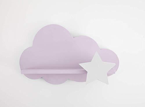 Nube Estantería Rosa con Estrella Blanca