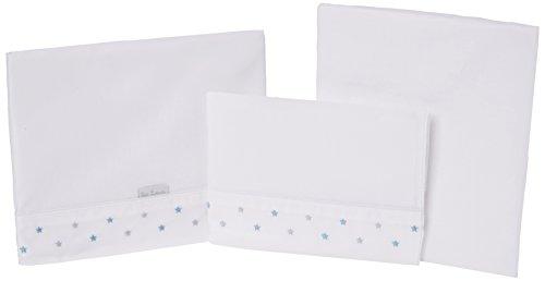 Petit Lazzari Estrellas - Juego de 3 sábanas para capazo, cuco o moisés, 35x75 cm, color azul