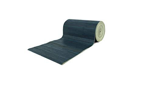 BIANCHERIAWEB Tappeto Bamboo Passatoia Antiscivolo in Tinta Unita Colore Blu 50x280 Blu