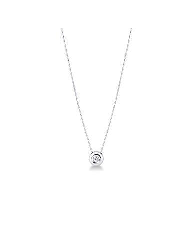 Gioielli di Valenza - Collana Punto Luce Grande in Oro Bianco 18k con Diamante - 2PROMO