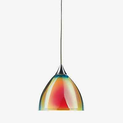 Bruck Silva Pendelleuchte - ø11 cm, chrom glänzend, Glas gelb/orange