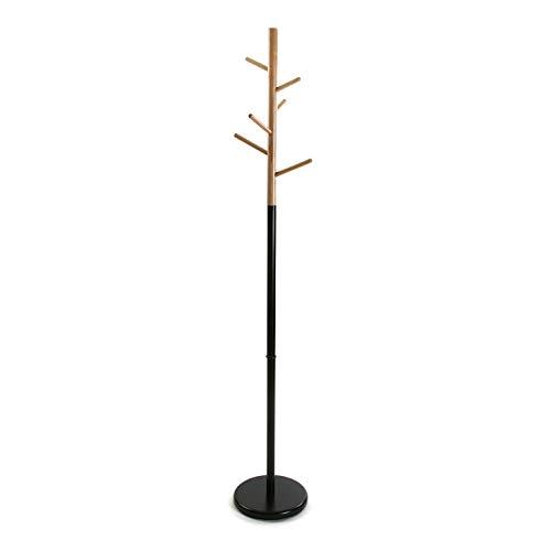 Versa 18790696 Perchero de pie negro - Metal y madera 177x28x28cm, 5 colgadores