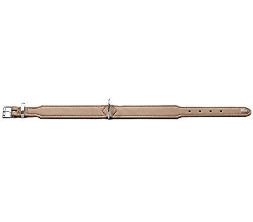 Dehner Premium Hunde-Halsband Achat, ca. 47-54 x 3.9 cm, verstellbar, Kunstleder, beige